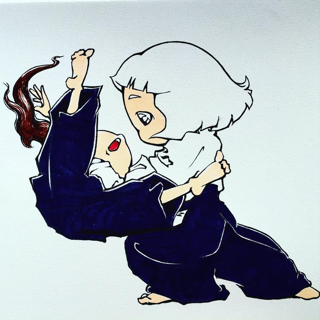 «デジタル無し。 マーカーで描いてみた… もう少し画材慣れが必要だなぁ。 #aikido #girl#waza#art#illstration#合気道#四方投げ#マーカー#イラスト»
