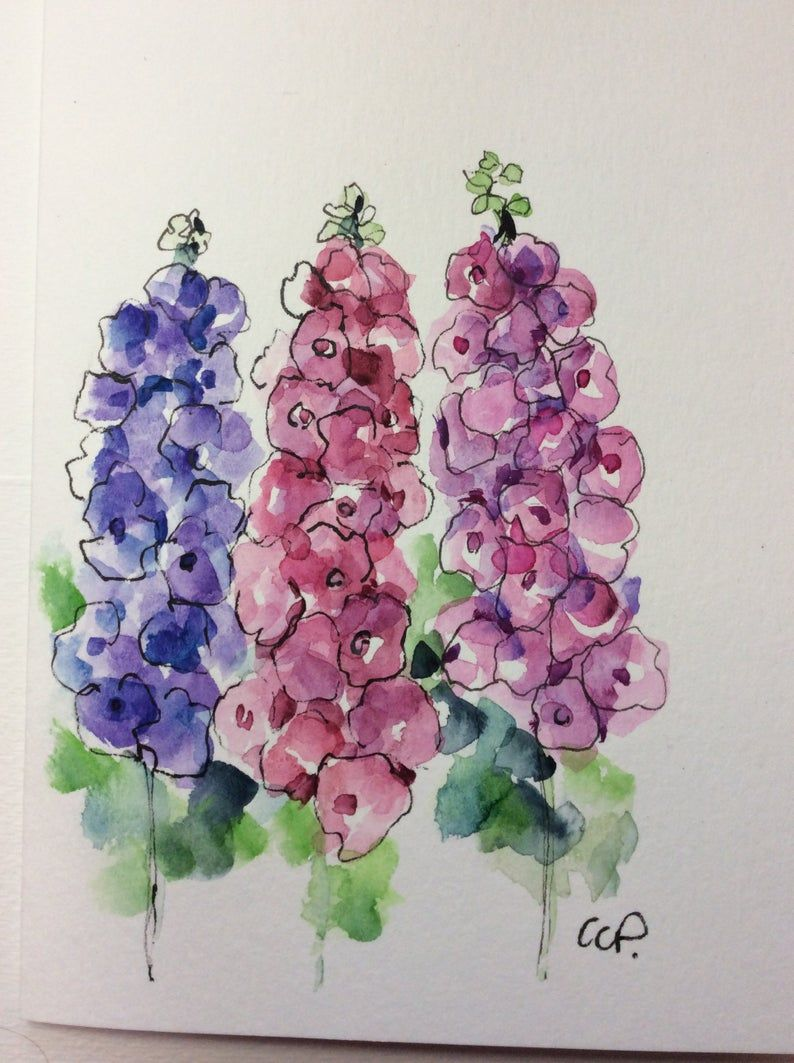 Delphiniums Watercolor Card Hand Painted Watercolor Card