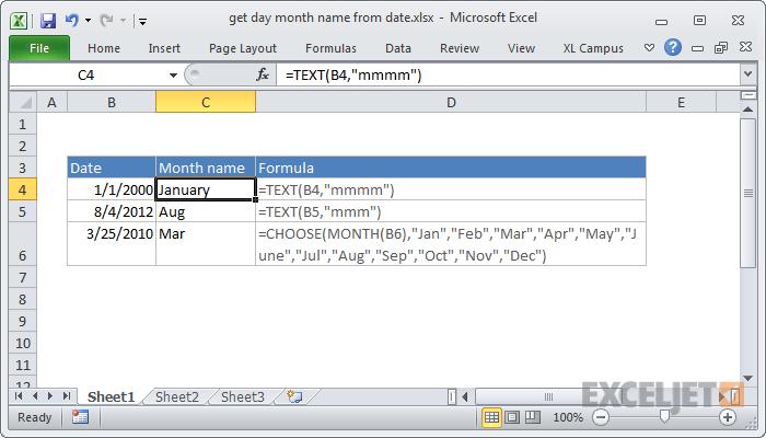 Excel Formula Get Month Name From Date Excel Formula Excel Microsoft Excel