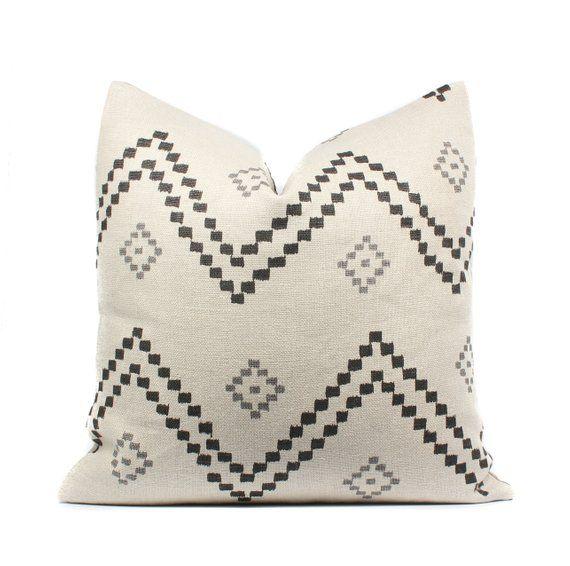 Boho Pillow Cover Taj Linen Black Natural Gray Linen | Etsy