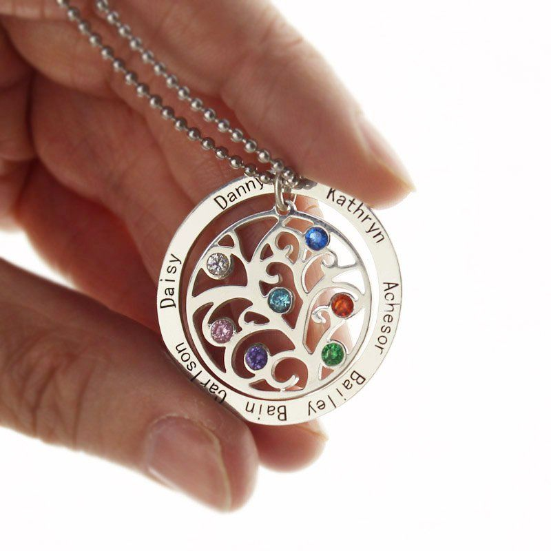 Personalized family tree birthstone name necklace personalised personalized family tree birthstone name necklace mozeypictures Choice Image
