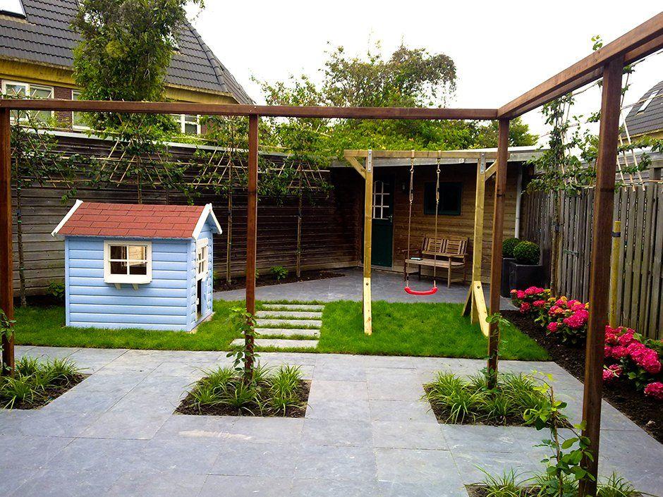 Terras hardsteen hortensia leibomen speelhuisje schommel for Tuin ontwerpen ipad