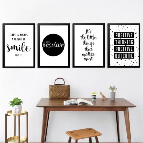 Inspirational Quote Wall Art Canvas Posters Black White Prints Modern Home Decor Dom i Meble Obrazy i reprodukcje