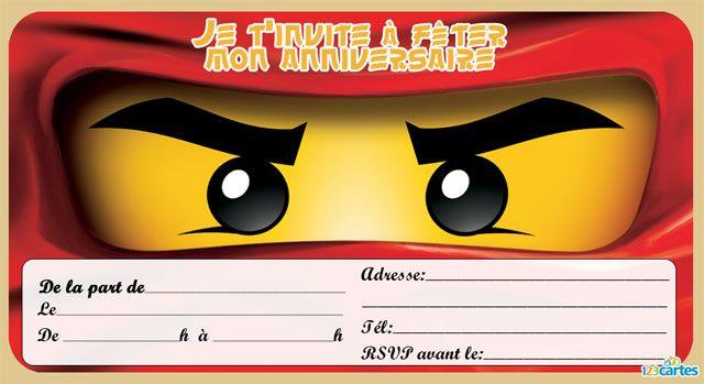 8 Invitations Anniversaire Lego Ninjago 123 Cartes