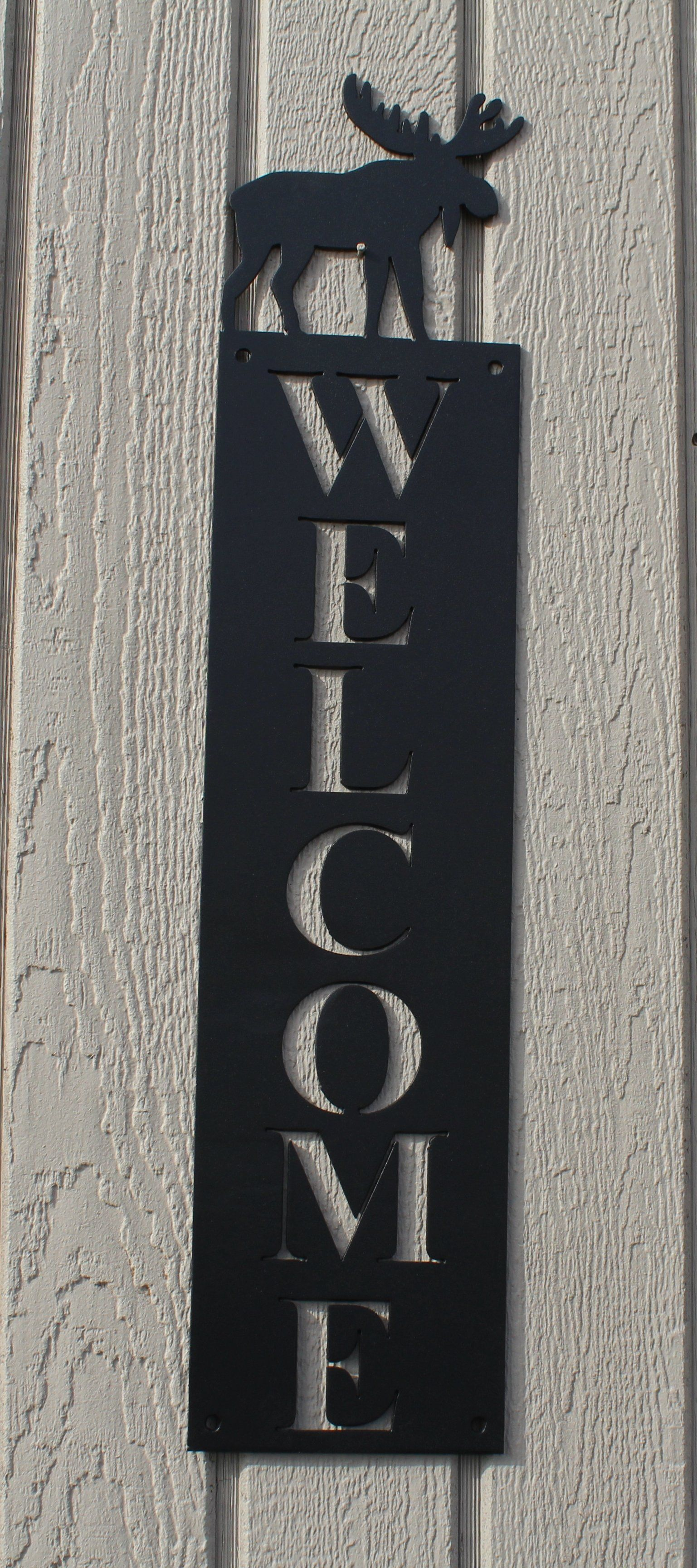 Moose vertical welcome sign metal wall art metal ideas pinterest