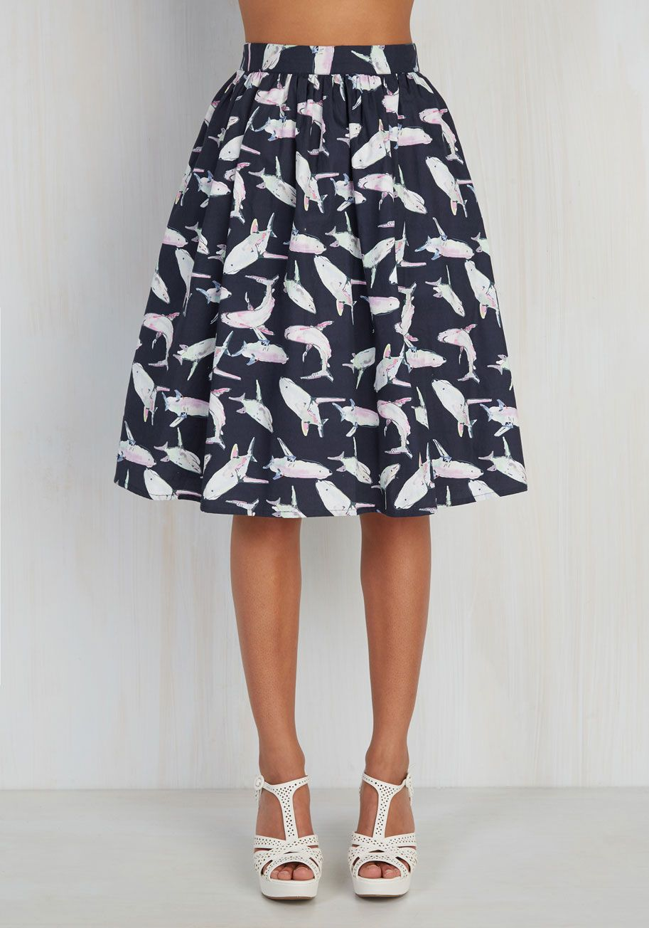 4320acf025 Fashion Frenzy Skirt by ModCloth - Blue, Pink, Grey, Multi, Mint, Print  with Animals, Print, Casual, Full, Summer, Exclusives, Private Label,  Mid-length, ...