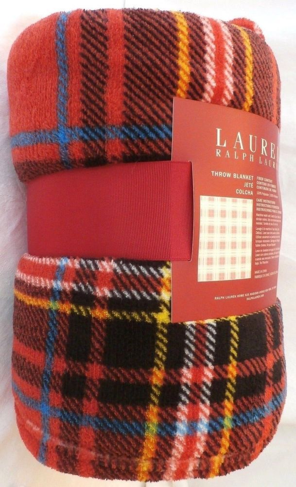 Snuggle Up And Stay Warm Under This Ralph Lauren Red Plaid Fleece Throw Blanket 60 X 70 The