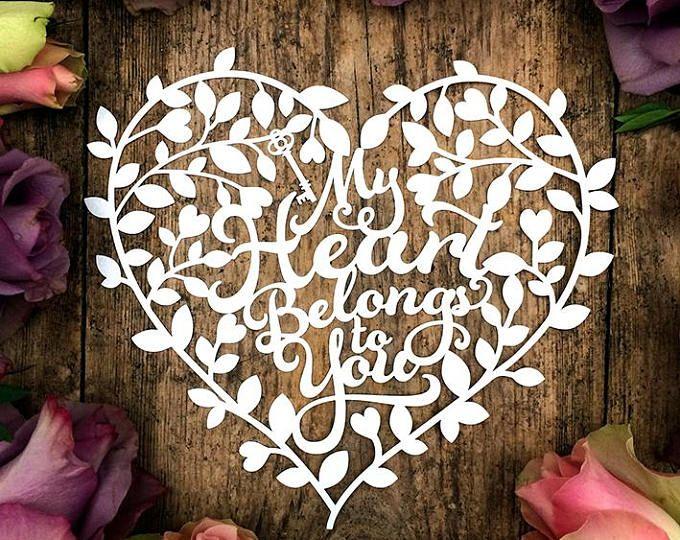 Card Making Ideas Pdf Part - 40: Papercut Template Heart Tree U0027My Heart Belongs To Youu0027 Valentines Wedding Card  Making PDF