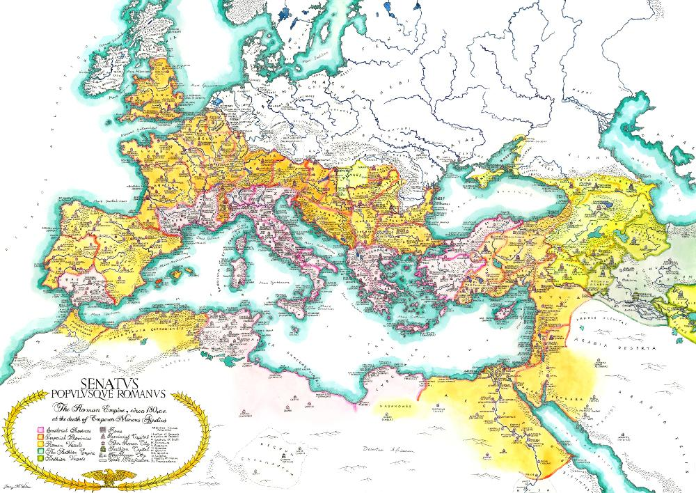 Roman Empire Map Roman Empire Map Map Painting Hand Illustration