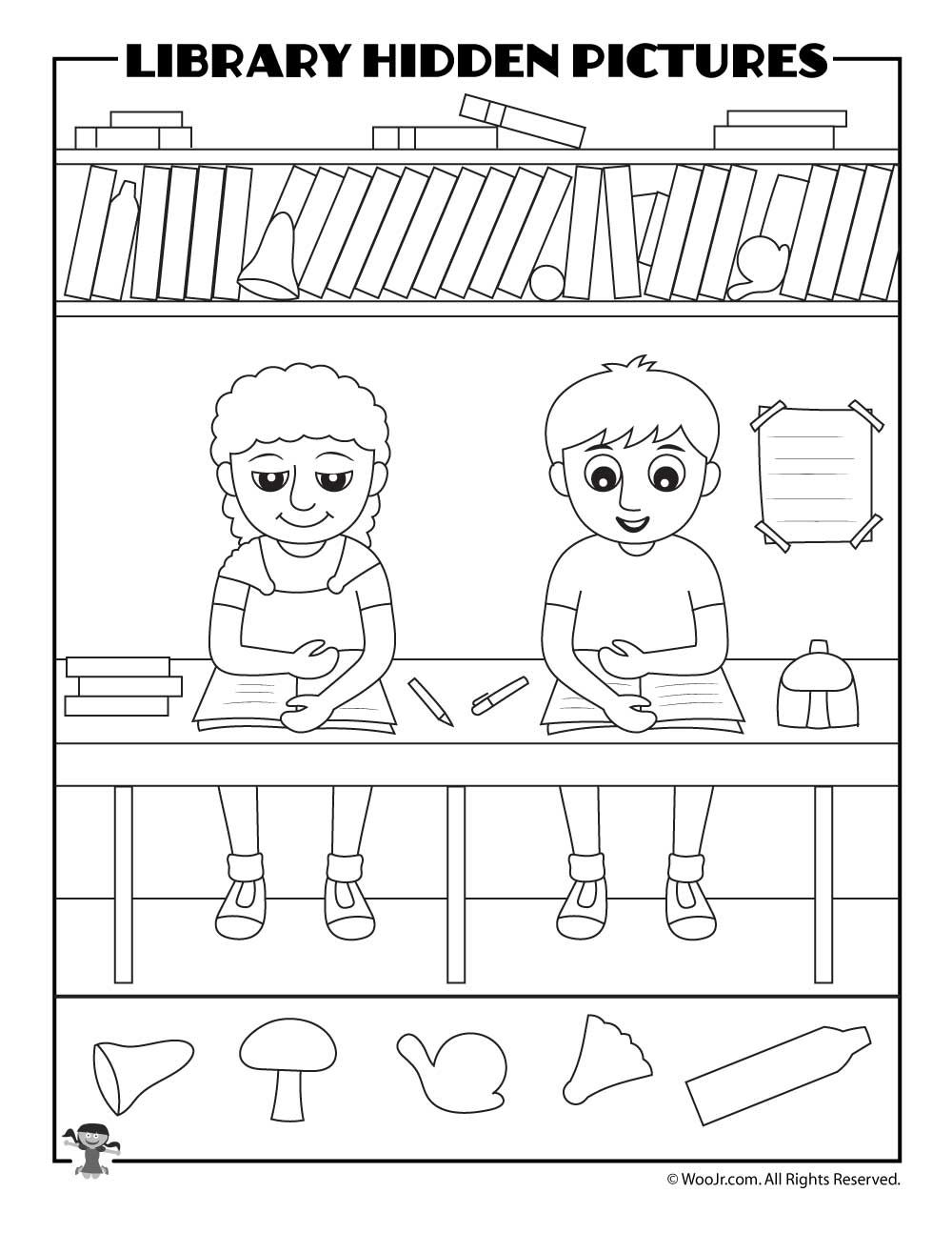 Printable Library Activities Coloring Pages Word Puzzles Hidden Pictures Woo Jr Kids Activities Hidden Pictures Library Activities Math Activities Preschool