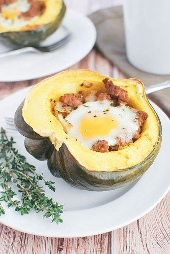 Breakfast Stuffed Acorn Squash Healthy Breakfast Of Sausage And