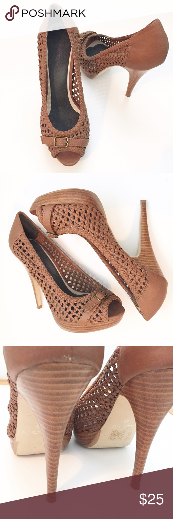 Aldo Peep Toe Basket weave platform sandals 39 Aldo Basketweave Brown Peep Toe Stiletto heel with small platform in front. Size 39. I put a cushion inside to make them more comfy. After pregnancy these no longer fit  great condition Aldo Shoes Heels