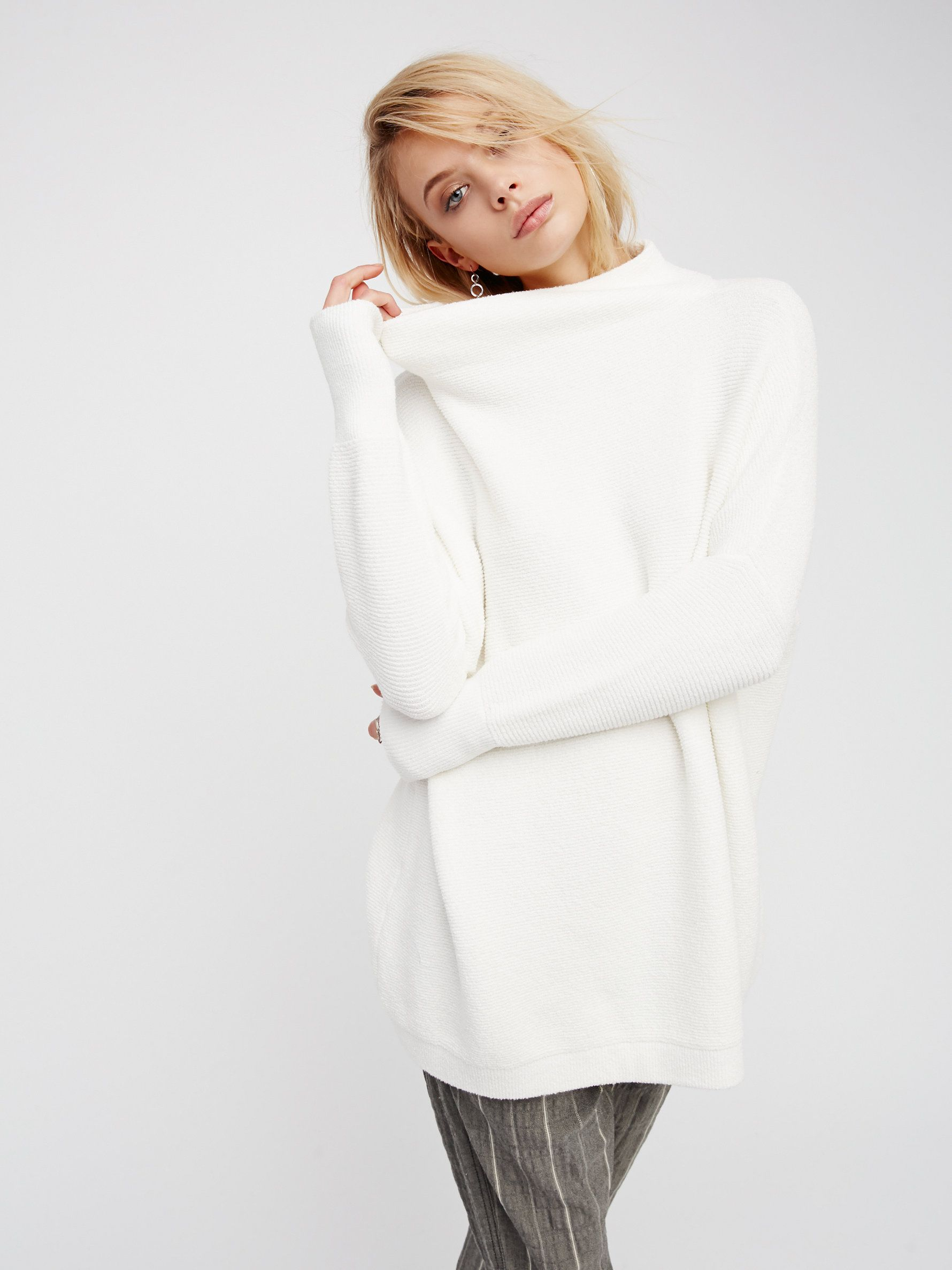aa596ac4348 Ottoman Slouchy Tunic | Heavy knit ribbed sweater tunic in a slouchy,  oversized stretchy fit. Features a sleek mock neck.