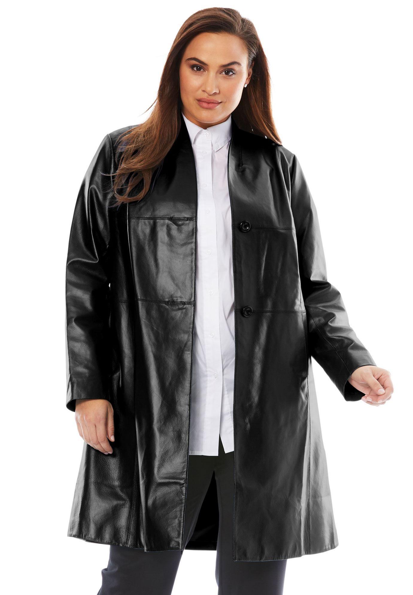 Leather Swing Coat Women's Plus Size Clothing Swing