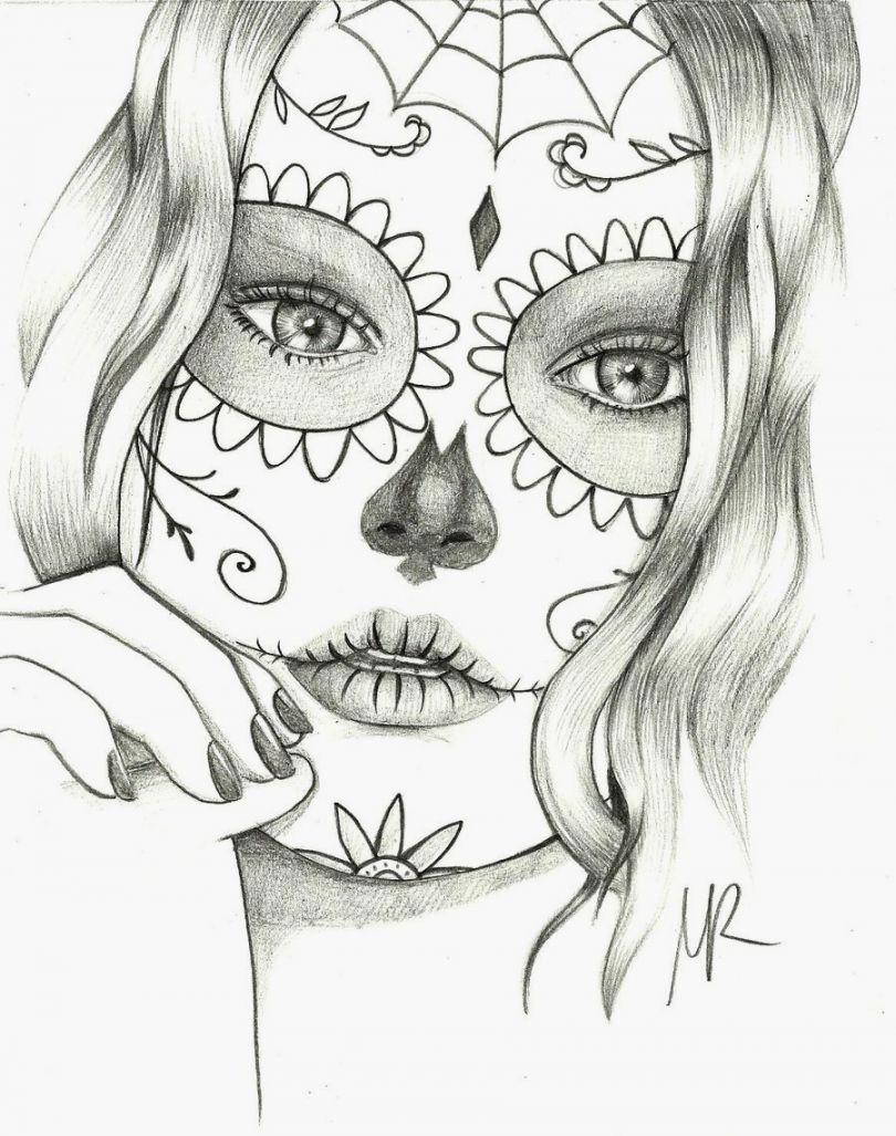 Sugar Skulls Coloring Pages Free Printable   Skulls   Pinterest ...