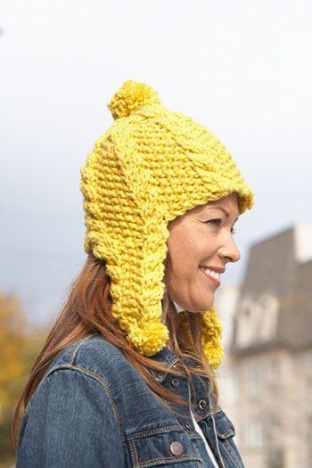 Bernat Pattern Softee Chunky Golden Glow Earflap Hat Knit