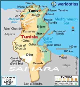 Map of tunisia egypt and north africa pinterest geografa y mapas map of tunisia gumiabroncs Gallery