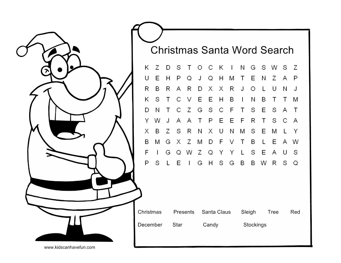 Christmas Word Search Printable Worksheets