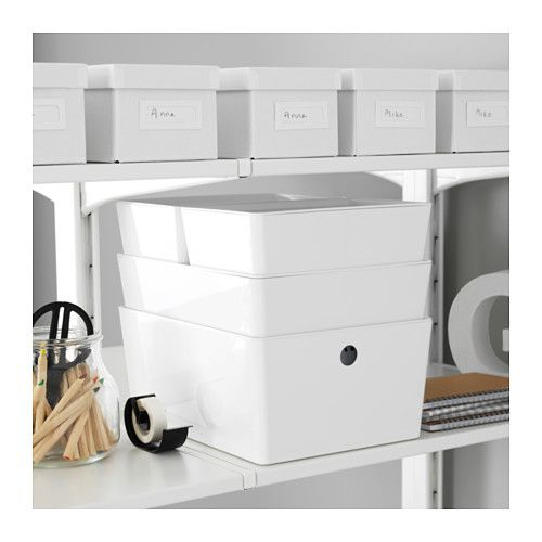 kuggis box mit deckel - 26x35x15 cm - ikea | office | pinterest, Hause ideen