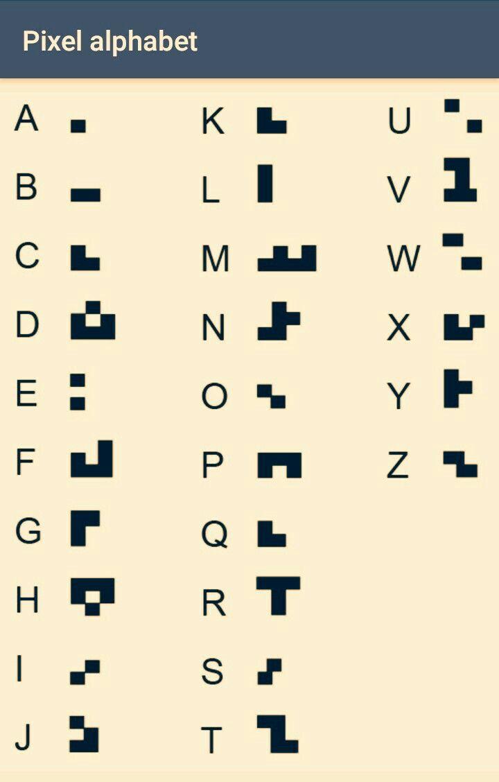 Pixel alphabet | Alphabets | Alphabet symbols, Alphabet