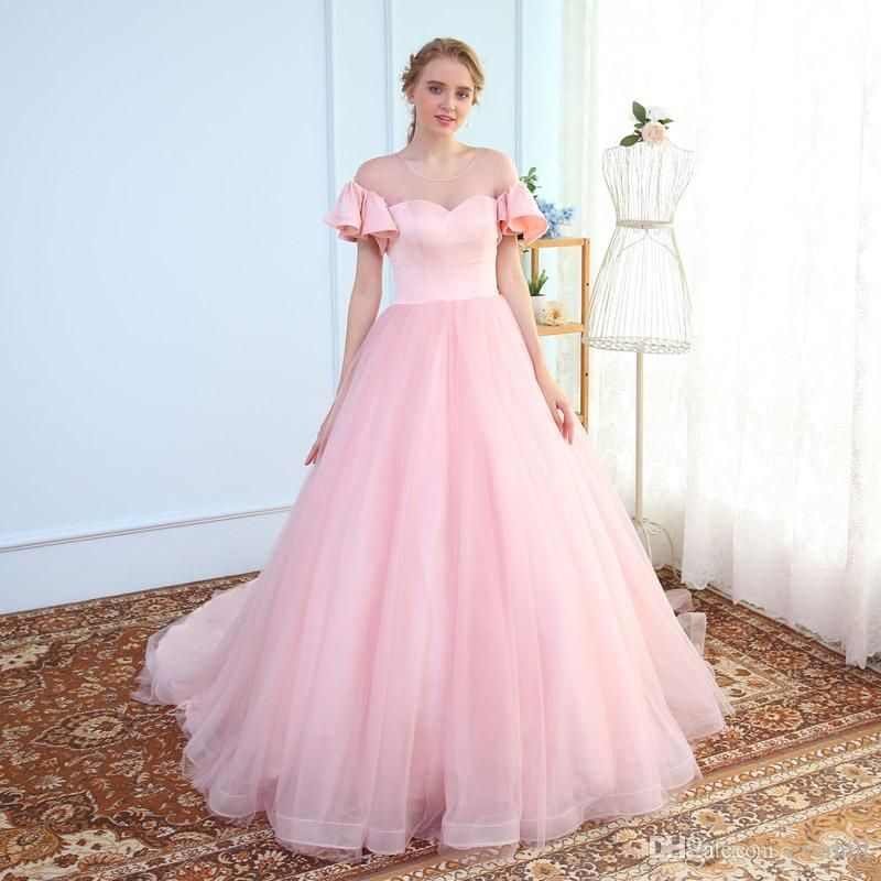 Fluffy Pink Women Prom Dresses Long With Sleeves Sheer Neck Satin ...