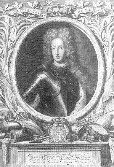 Friedrich IV. von Schleswig-Holstein-Gottorf, Kupferstich von Pieter van Gunst nach einem Gemälde von Ludwig Weyandt