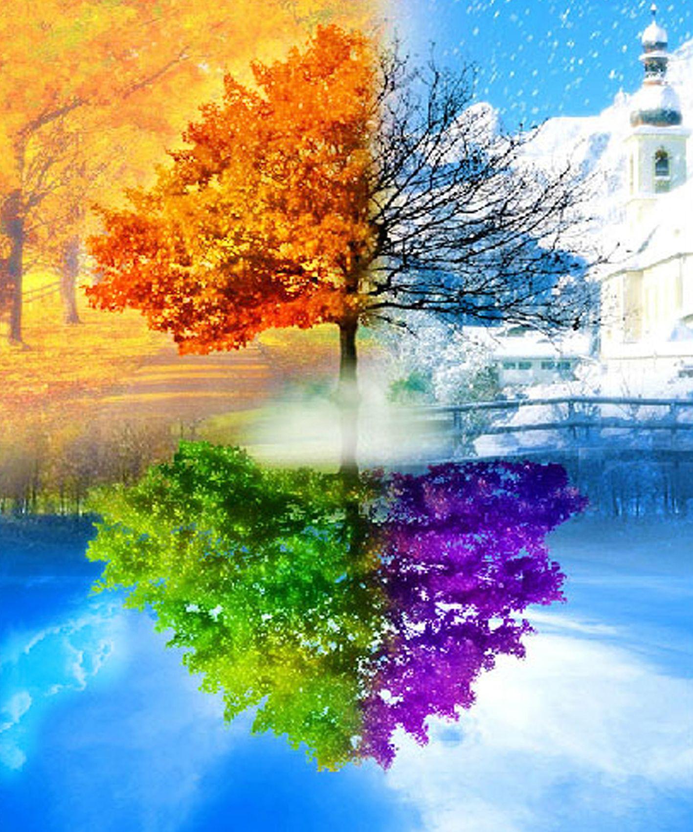 The Four Seasons Trees Diy Diamond Painting Cross Stitch