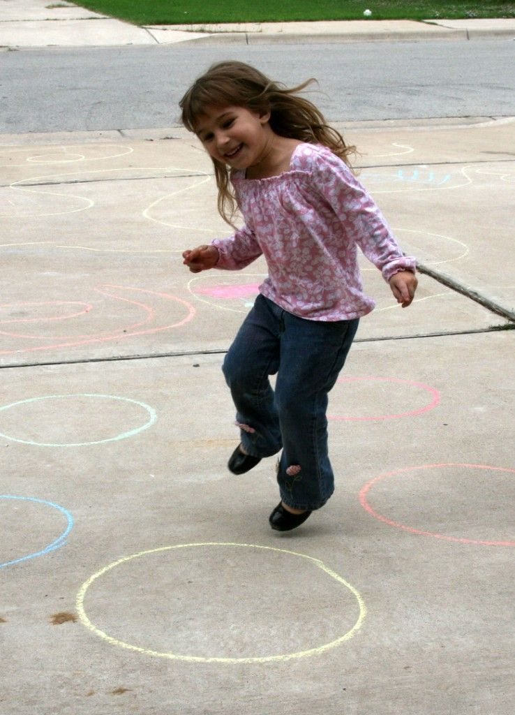 Jump to the letter draw circle with chalk and the letter