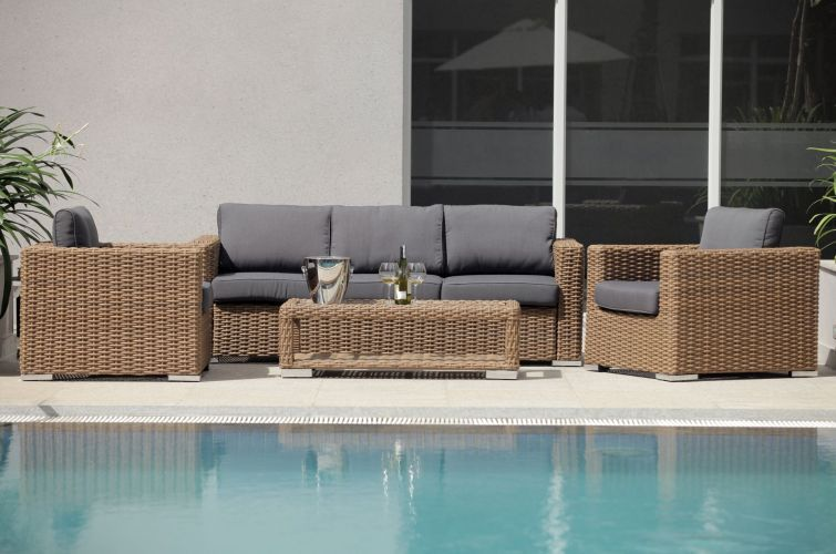 Polyrattan Gartenmöbel Lounge am Pool #Gartenmöbel #Polyrattan - rattan gartenmobel braun