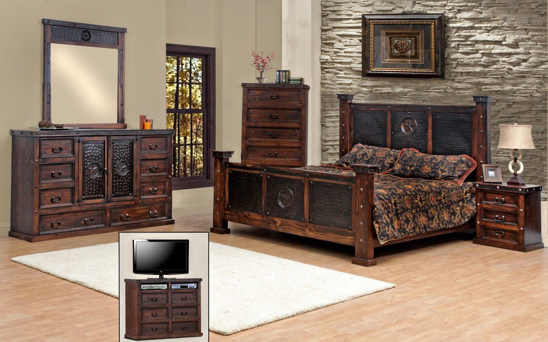 Amazon.com   King Size Copper Creek Bedroom Set, Dark Stain, Western,