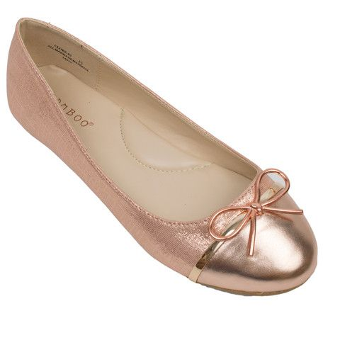 Bamboo Rose Gold Monochromatic Two-Tone Tie String Accent Ballet Flats