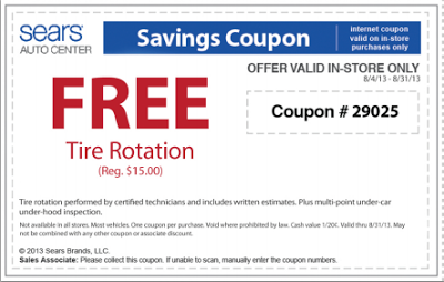 graphic relating to Sears Auto Printable Coupons called Sears Vehicle Middle- Free of charge Tire Rotation and Brakes Analysis