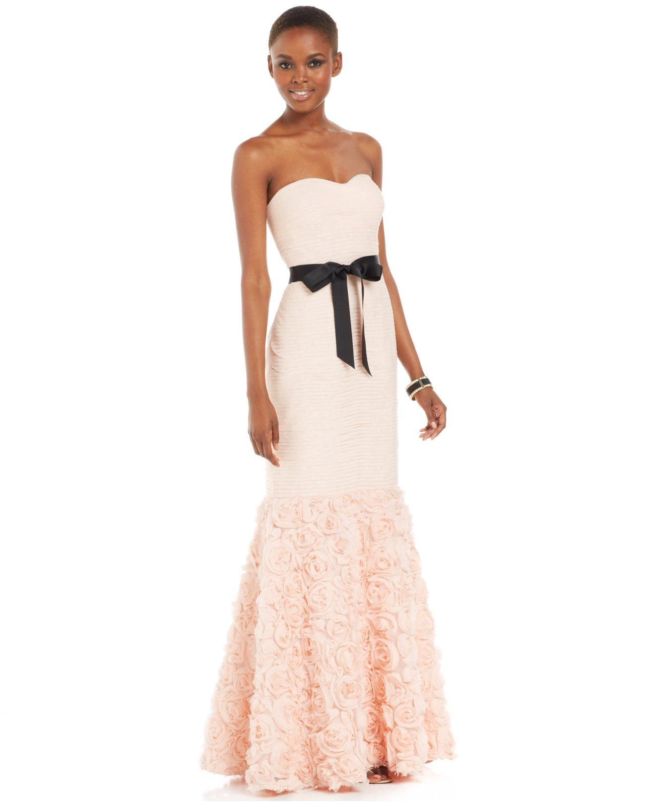 JS Collections Strapless Belted Mermaid Gown - Dresses - Women ...