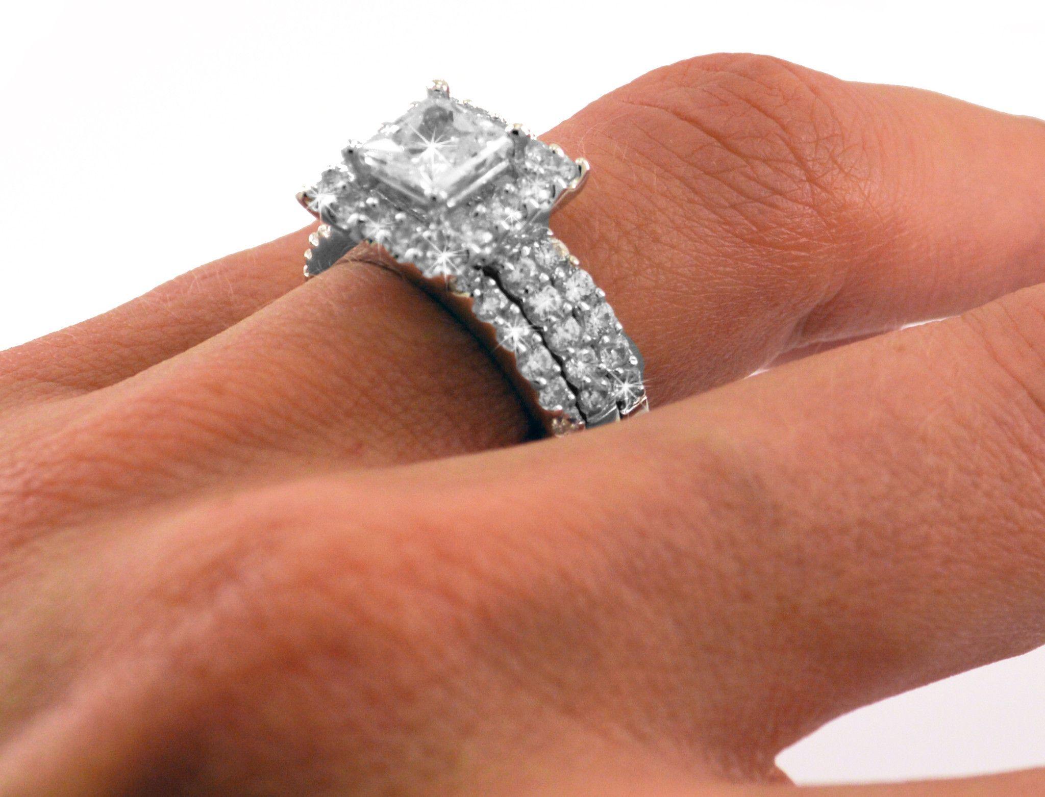 1ct Princess Cut Engagement Wedding Set 3 Rings Signity CZ Rhodium
