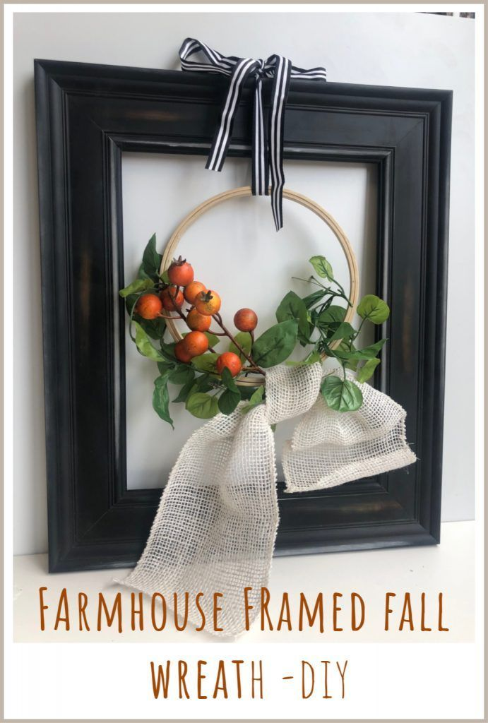 Photo of Farmhouse Style Modern Framed Wreath-DIY Step by Step instructions. Fall wreath …