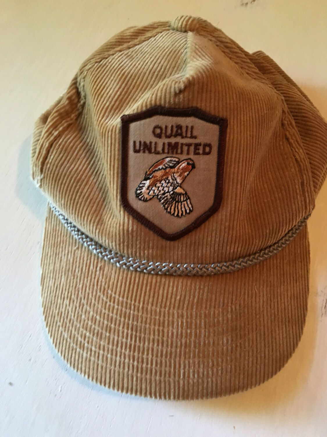 df119f4d590 Vintage Hunting Hat - Small Game Quail Unlimited Adjustable Hat - Mens Cap  - Sporting Gear - Old School Corduroy Hat
