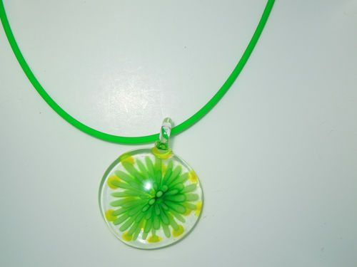 $14.89 FREE SHIPPING #jewelry #pendant #necklace #Lime #Green #glass #flower #flowerburst