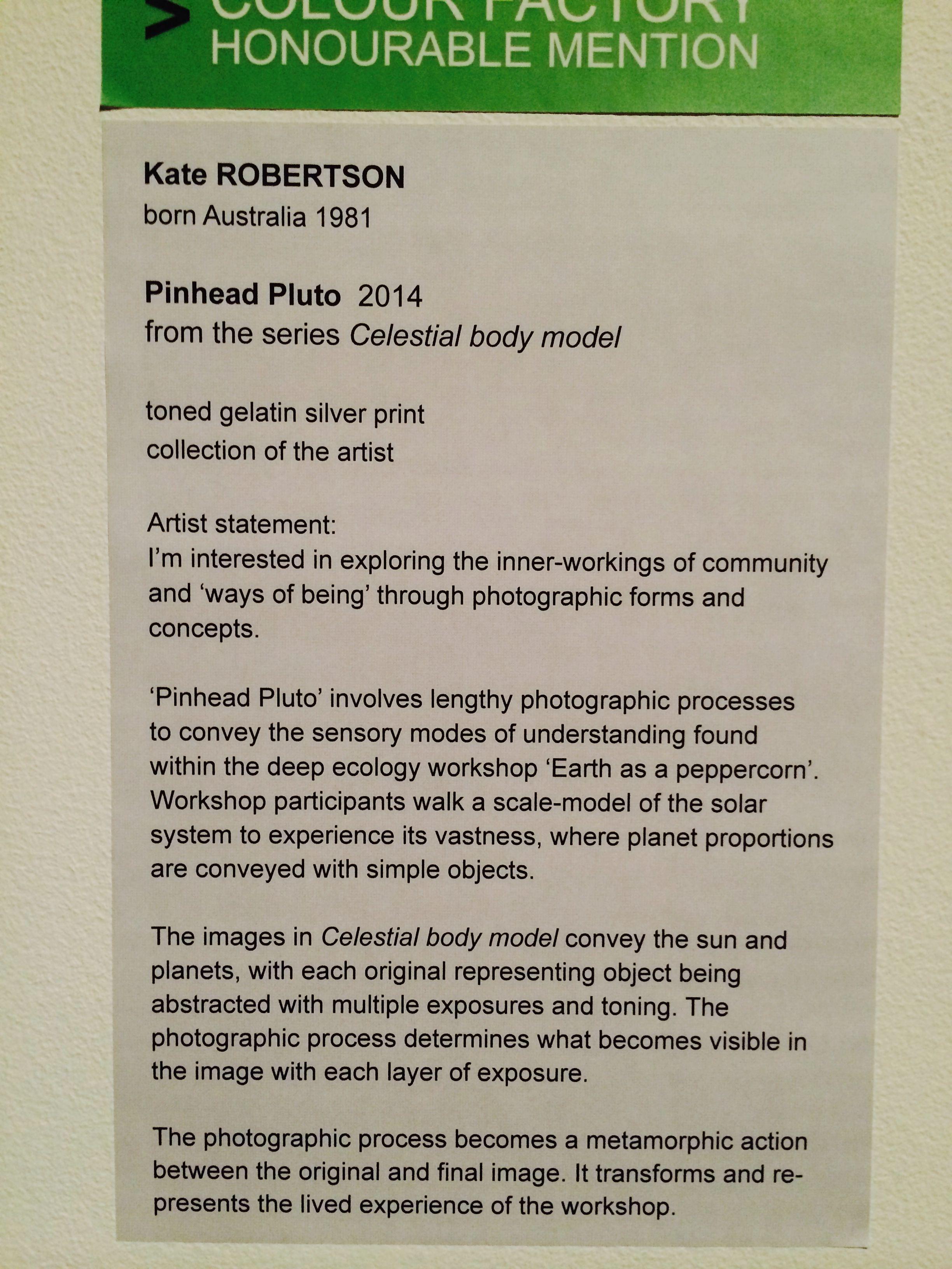 Kate ROBERTSON, Pinhead Pluto 2014, toned gelatin silver print.