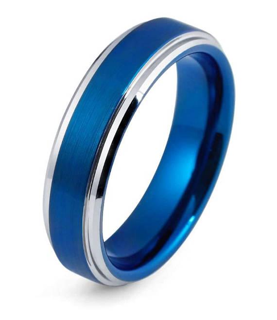 Blue Tungsten Wedding Band Blue Ring Tungsten Wedding Ring Blue