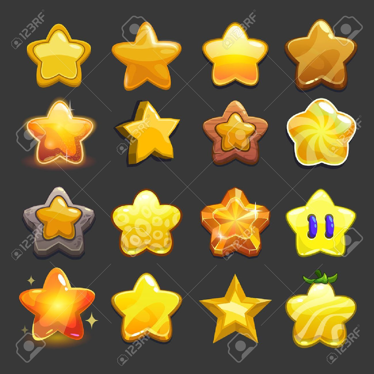 Cartoon vector star icons set, cool game assets collection for..