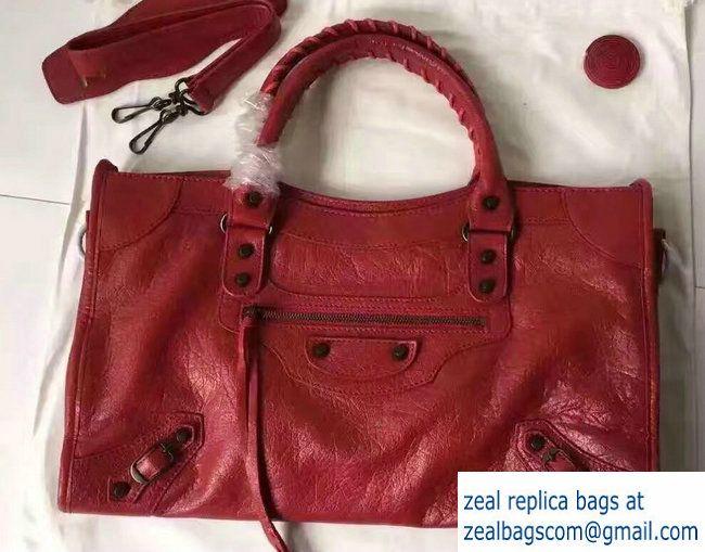 a529ce8e84 Balenciaga Crinkled Lambskin Classic Medium City Bag Red | Luxury ...