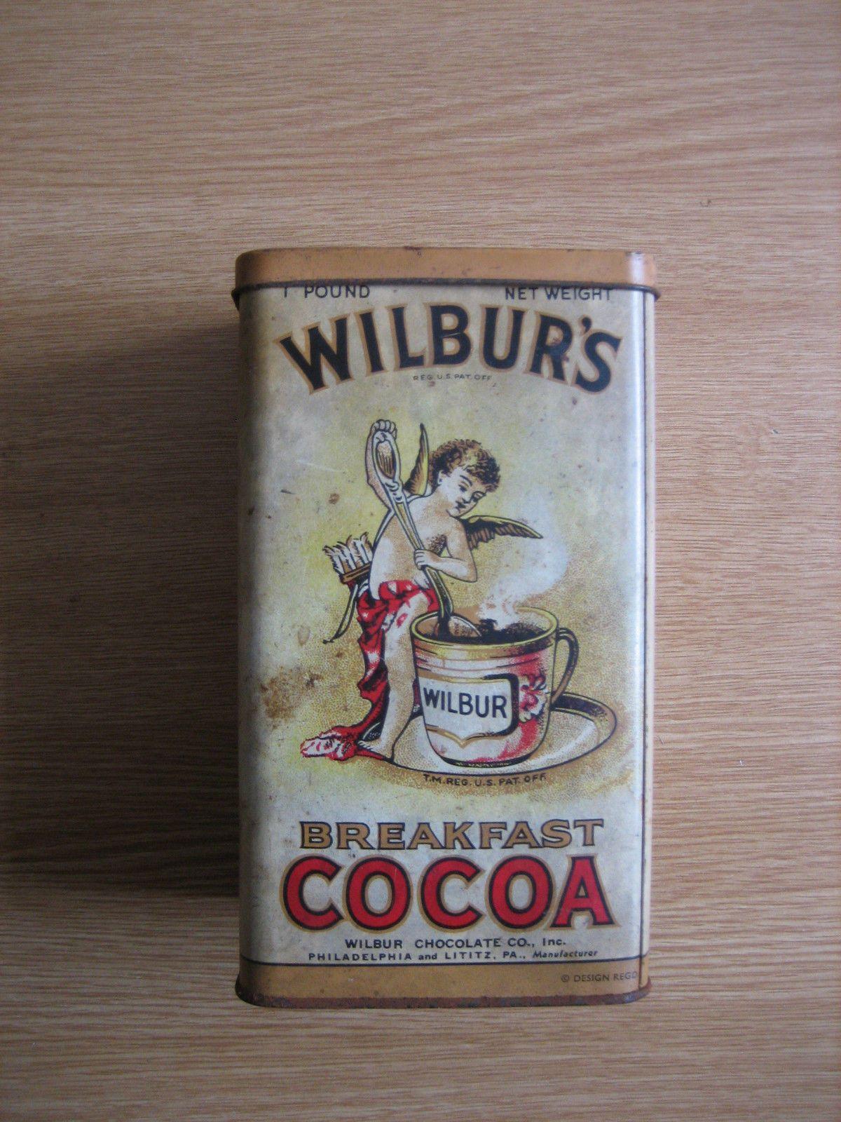 Wilbur's Breakfast Cocoa Tin - Retro / Vintage - 1 lb - Long Island