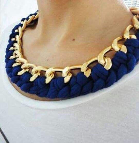 Collar Tela Azul Y Cadena 120 Collares Collar De Moda Aretes