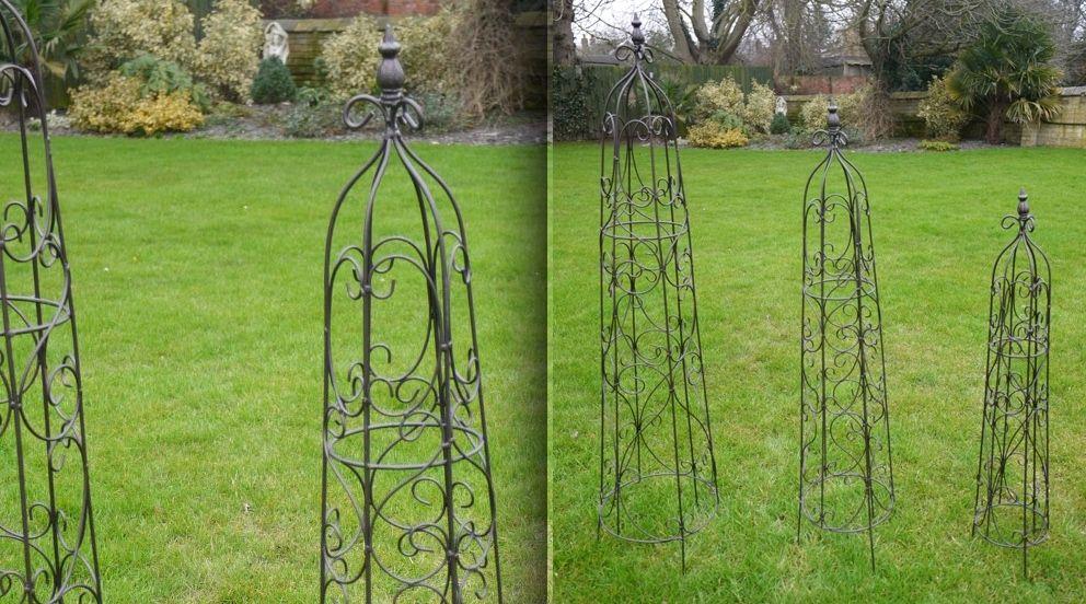 Jeu de 3 obélisques de jardin en fer forgé | Ferronnerie - metalwork ...