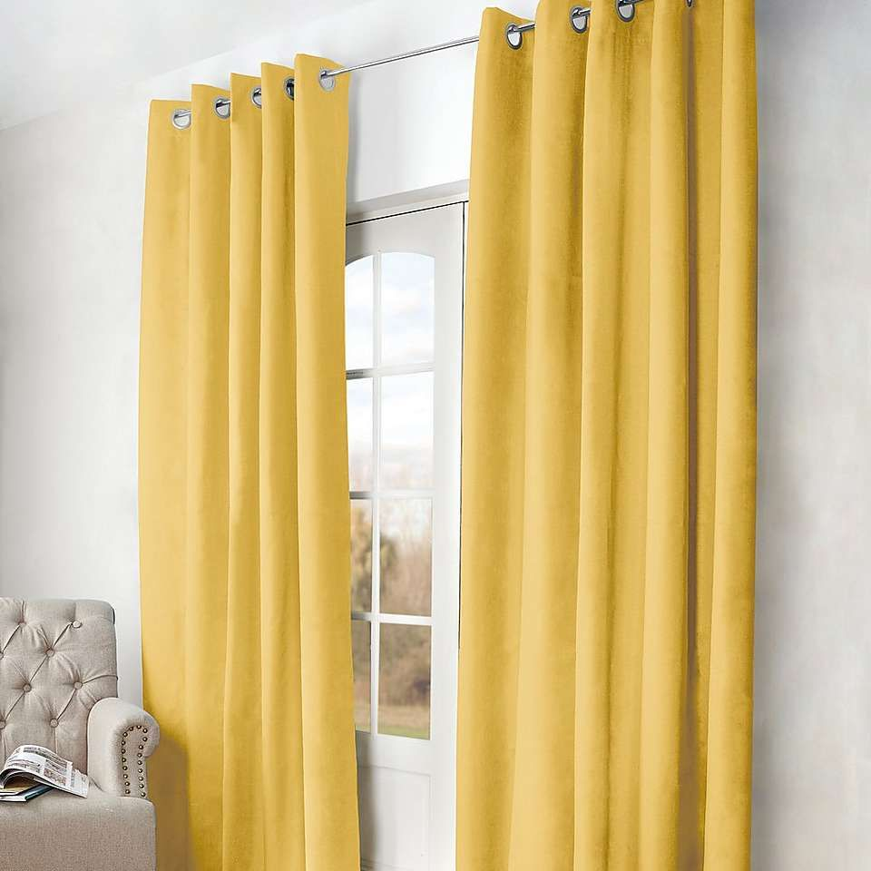 Dunelm Ochre Arizona Blackout Curtains Yellows