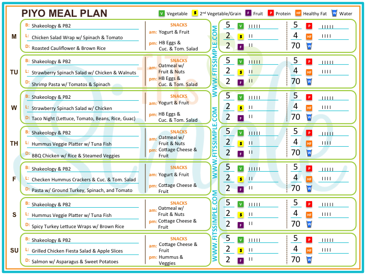 Free Meal Plan | *☤ Health Inspiration for me | Piyo diet