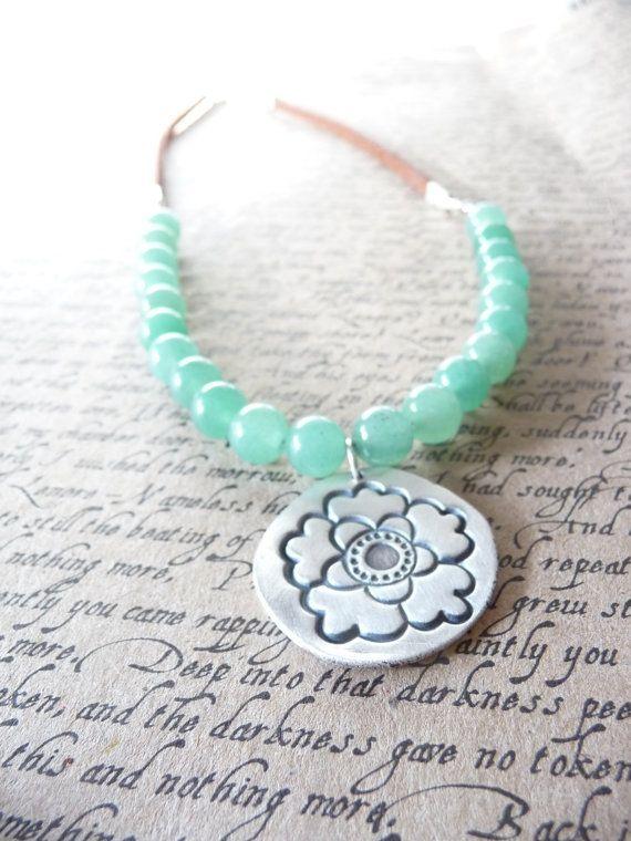 Pastel lotus pendant with adventurine stone beads by DreamofaDream, $45.00