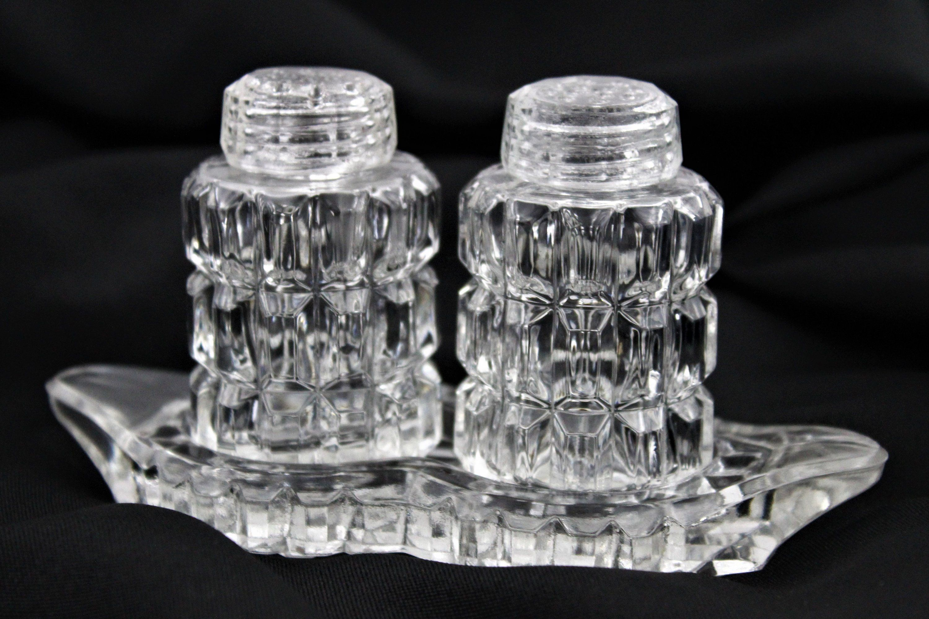 Elegant Glass Salt and Pepper Shakers, Matching Glass Tray