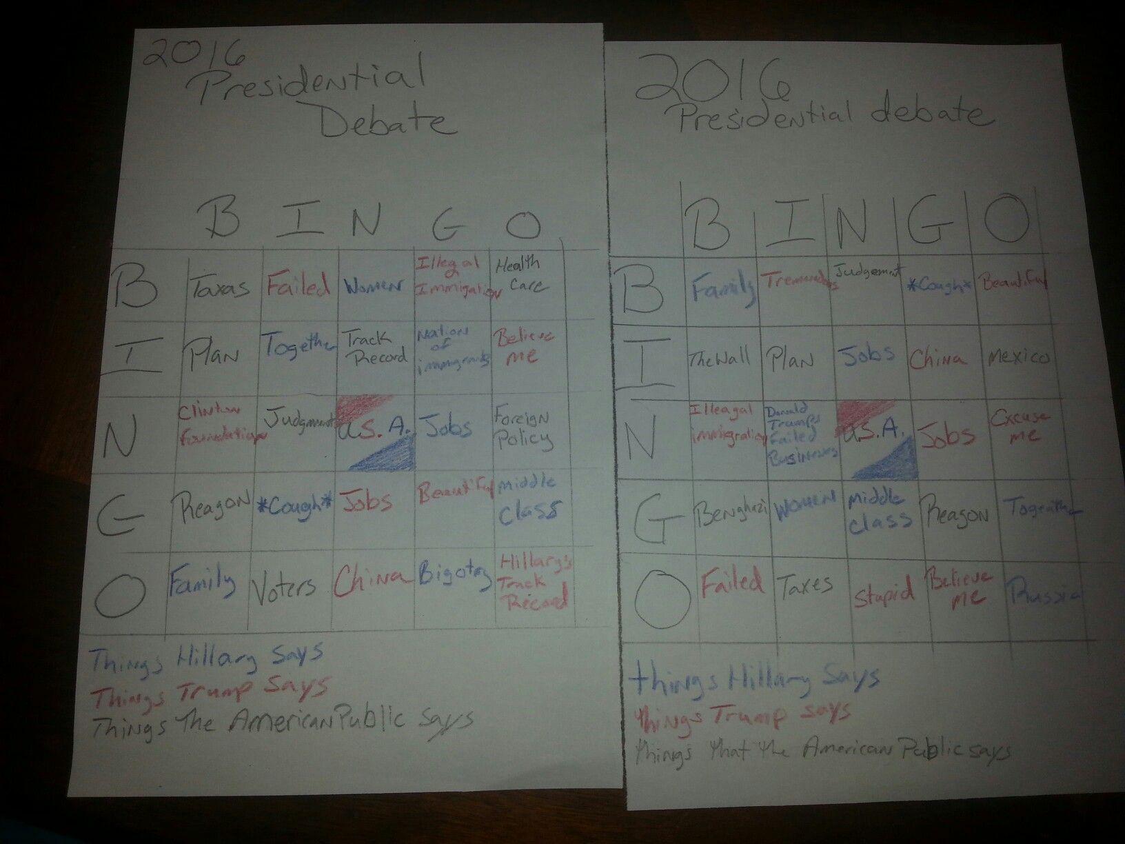 Presidential Debate Bingo With Images