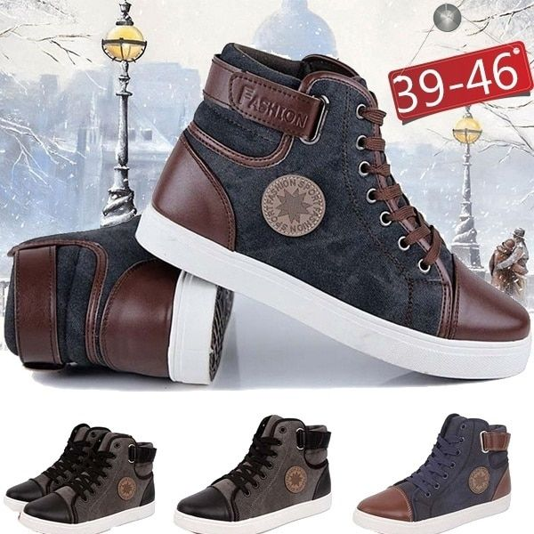 617f05f9085e6 3 Colors High Quality Autumn Winter Men s Fashion Casual Shoes Trend Canvas Shoes  Male High Top Breathable Air Boots Flats Class